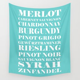 Wine Celebration - Mint Blue Wall Tapestry