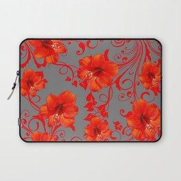 ORANGE-RED AMARYLLIS BROCADE FLORAL GREY ART Laptop Sleeve