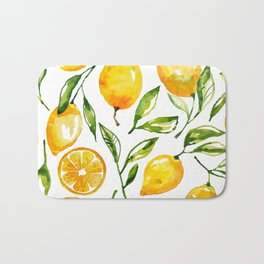 lemon watercolor Bath Mat