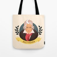 beethoven Tote Bags featuring Beethoven by Espaco Ilusório