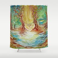alice in wonderland Shower Curtains featuring Wonderland by Lily Nava Gallery Fine Art and Design