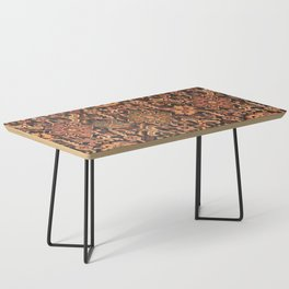 Floral Medallion I // 18th Century Colorful Blue Lime Green Pink Sapphire Plum Burlap Brown Pattern Coffee Table