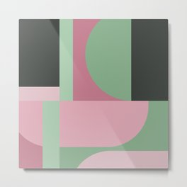 Art Deco Composition Pink and Green #5 Metal Print