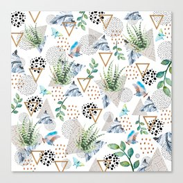 Geometric with cactus and butterflies Canvas Print