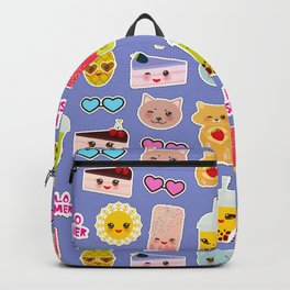 Hello Summer Pineapple, cherry smoothie cup, ice cream, sun, cat, cake, hamster. Kawaii cute face. Backpack