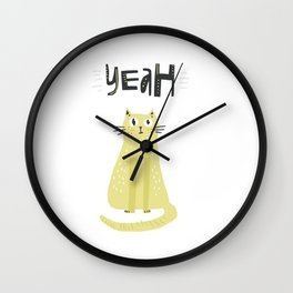Yeah Cat Wall Clock