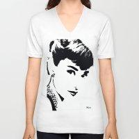 audrey hepburn V-neck T-shirts featuring Audrey Hepburn by Saundra Myles