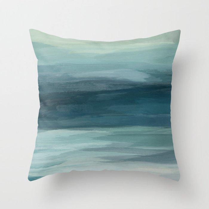 Seafoam Green Mint Navy Blue Abstract Ocean Art Painting Throw Pillow