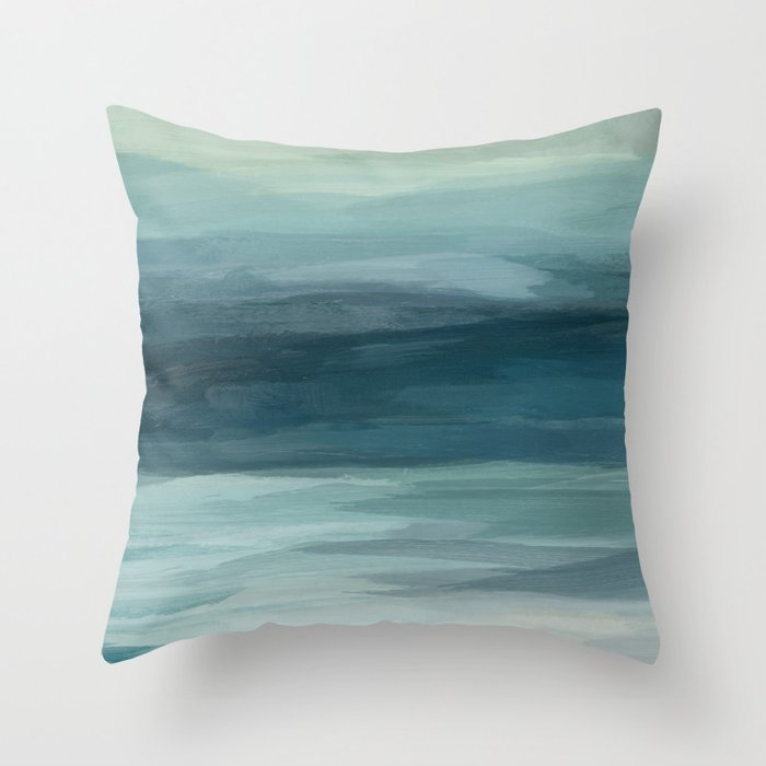 Seafoam Green Mint Navy Blue Abstract Ocean Art Painting Throw Pillow