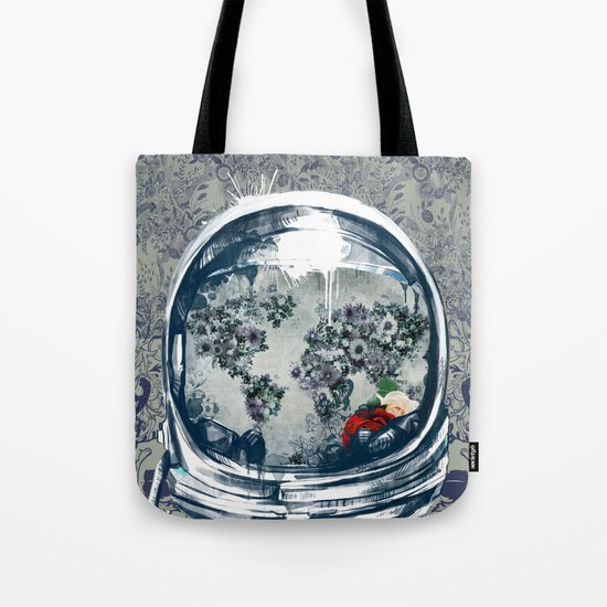 astronaut floral world map  Tote Bag