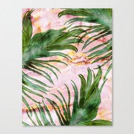 Palm leaf on marble 01 Canvas Print
