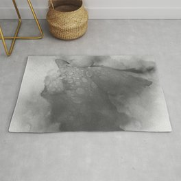 Trampled Rose Greyscale Manipulated Photo with Dew Drops Rug