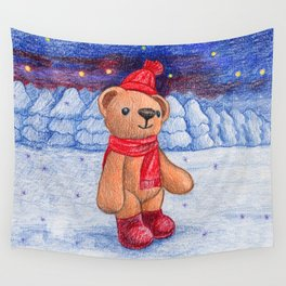 bear with sock cap Wall Tapestry