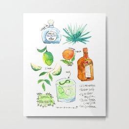 Classic Margarita Cocktail Recipe Metal Print
