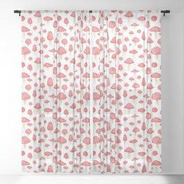 Amanita Mushrooms Sheer Curtain