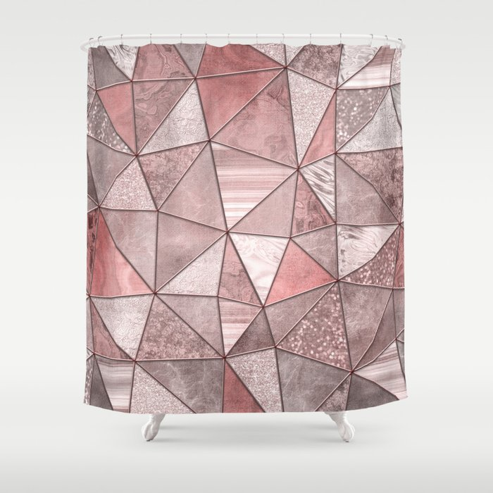 Soft Pink Coral Glamour Gemstone Triangles Shower Curtain