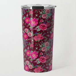 Burgundy Floral Thanksgiving , fall & winter floral in watercolor Travel Mug