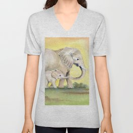 Colorful Mom and Baby Elephant 2 Unisex V-Neck