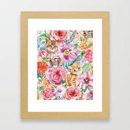 Kittens in flowers Framed Art Print