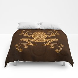 Intricate Golden Brown Tree Frog Comforters