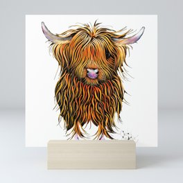 HiGHLaND CoW PRiNT SCoTTiSH ' HuMPHReY on WHiTe ' BY SHiRLeY MacARTHuR Mini Art Print