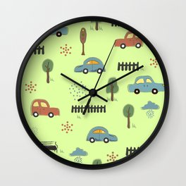 Seamless Pattern with Hand Drawn Cars. Scandinavian Style. Wall Clock
