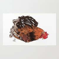 rooster Area & Throw Rugs featuring Rooster by misshannahgamble