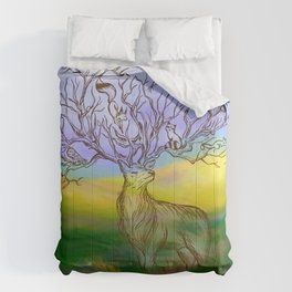 Deer on summer Field Comforters