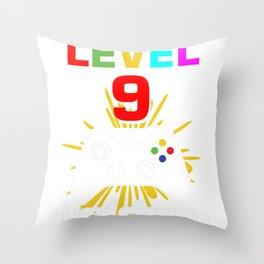 Level 9 Unlocked 9Th Birthday Shirt For Boys Gamer 1999 Throw Pillow
