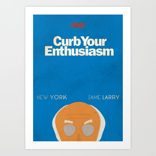 Curb Your Enthusiasm, Larry David, Hbo, showtime, Woody Allen, fun, humor, Alternative Poster, tv, Art Print