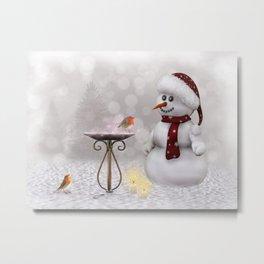 Robin and Snowman Metal Print