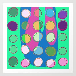 Nouveau Retro Graphic Teal Green Blues Multi Colored Art Print