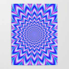 Psychedelic Pulse in Blue and Pink Poster