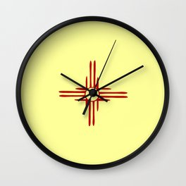 Flag of new mexico hand drawn 1 Wall Clock