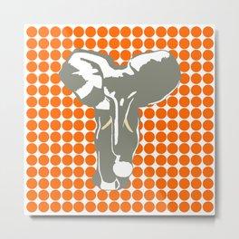 Tangerine Safari Dot with Pop Art Elephant Metal Print