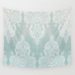Lace & Shadows - soft sage grey & white Moroccan doodle Wall Tapestry