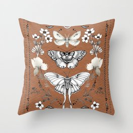 Three Moths Burnt Orange Throw Pillow