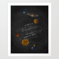 sagan Art Prints featuring Wanderers - Carl Sagan by Casey Ligon