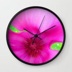 Shocking Pink Flower Wall Clock