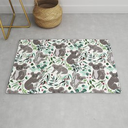 Green Cute Cuddly Koalas Rug
