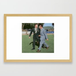 Jock Stein in discussion about the dugouts in Lisbon Framed Art Print