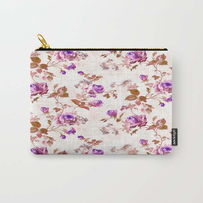Purple Gold Roses Carry-All Pouch
