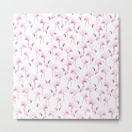 Tropical elegant watercolor pink flamingo bird Metal Print