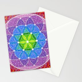 Rainbow Flower of Life Stationery Cards