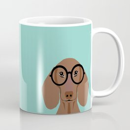 Remy - Daschund with Fashion glasses, hipster glasses, hipster dog, doxie,  Coffee Mug