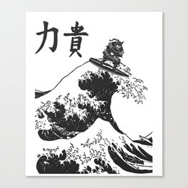 Samurai Surfing The Great Wave off Kanagawa Canvas Print
