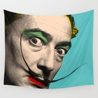 salvador dali Wall Tapestries featuring Salvador Dali by mark ashkenazi