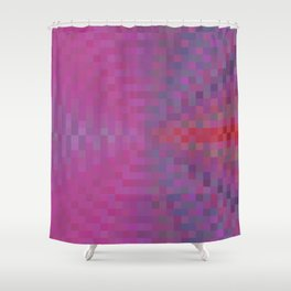 geometric square pixel pattern abstract background in pink and blue Shower Curtain