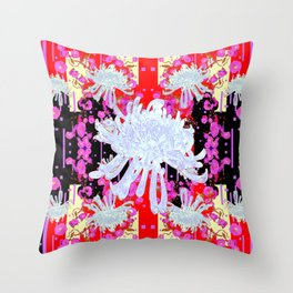 Black & Red Decorative Modern White Mums Patterns Flowers Throw Pillow