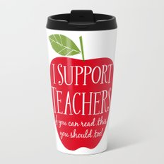 I Support Teachers (apple) Travel Mug